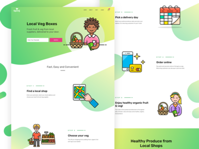 Spinij Landing Page organic green illustrations veg boxes delivery food fruit veg website landing page