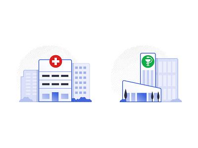 Hospital and Pharma Icons investigation research pharmaceutical pharma hospital iomed medicine medical icons illustration design