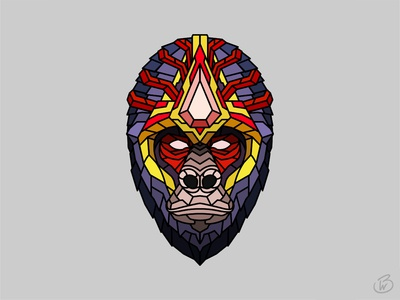 Gorilla King animal illustration symmetry line animal art gorilla animal minimal design geometric vector color illustration art