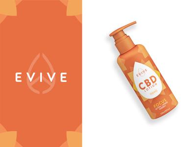 Evive Focus CBD Lotion Package Design logodesign brand identity labeldesign graphicdesign graphic lotion packagedesign packaging package branding minimal design
