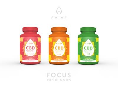 Evive Focus Gummies Package Design brand identity cannabis design package design packaging cannabis branding gummies cbd packaging cannabis branding color minimal design