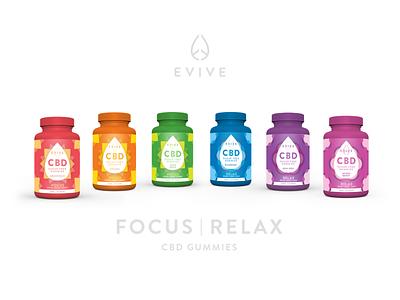 Evive Focus | Relax Gummies Package Design labeldesign label cannabis branding packagedesign packaging package cannabis cbd oil cbd branding logo design color minimal design