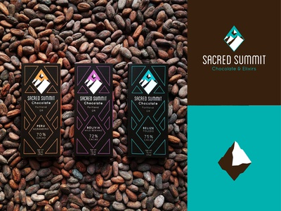 Sacred Summit Dribbble Post 21 chocolate packaging brand design packagingdesign chocolates chocolate packaging package design brand identity vector logo design branding logo color minimal design
