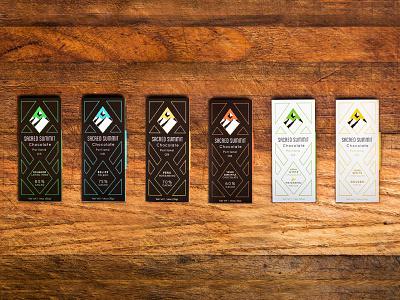 Sacred Summit Chocolate Packaging Family Shot chocolate bar chocolate packagedesign packaging package flat geometric brand vector branding logo color design