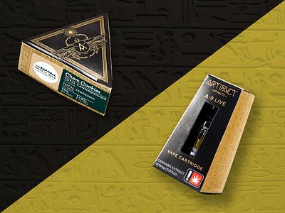 Artifact Extracts Packaging branding illustration color custom packaging cannabis packaging cannabis design packagedesign package packaging graphic design extracts artifact egyptian cannabis graphics design