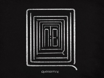 QUARANTINE MAZE wordmark isolation type letter maze quarantine art illustration icon typography handlettering minimal design lettering