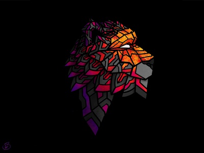 Cyger procreate app texture procreate art artist tiger animal procreate geometric vector illustration art color design