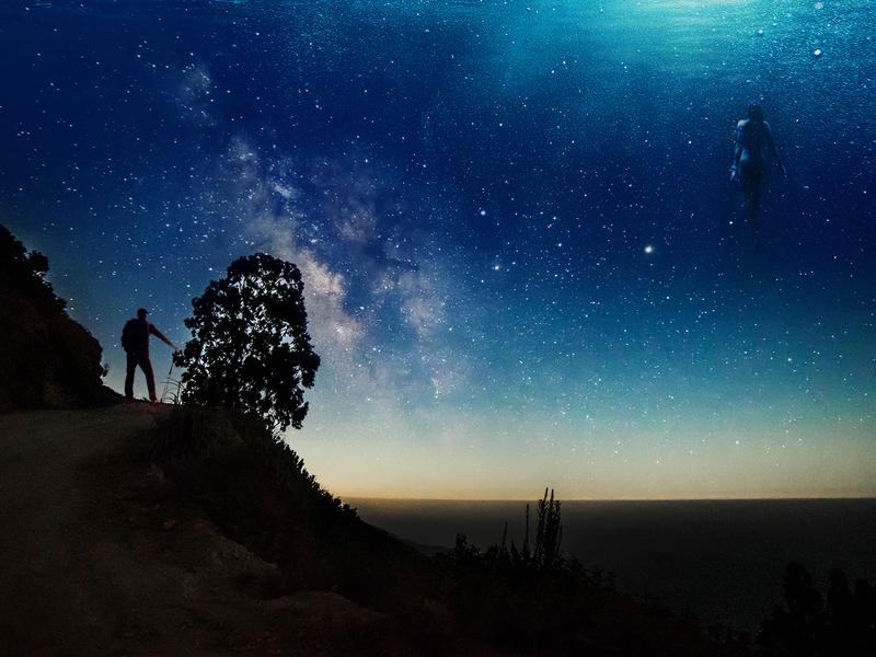 Night Swim Radio - Dive 163 - Cover Art sky night blending modes photoshop photo photography color art design