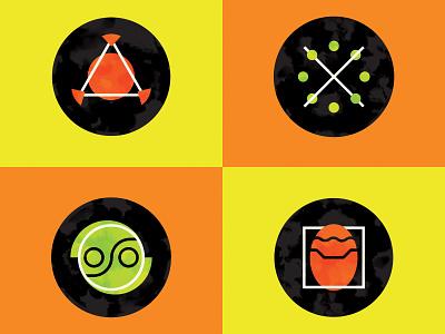 The Jak and Daxter Soundtrack (Vinyl Design) - Label Icons playstation icon fangamer design vector pop culture pantone art direction illustration graphic design