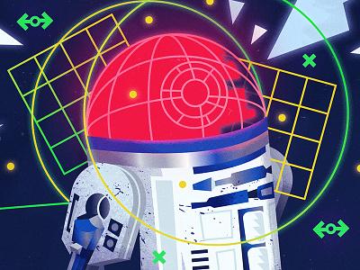 Blueprint hope death star plans r2-d2 star wars vector design pop culture ui art direction illustration