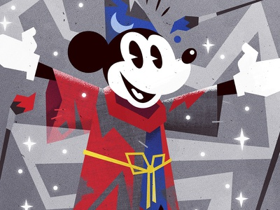 Magic Maker wizard primary colors graphic design mickeymouse disney vector pop culture art direction illustration