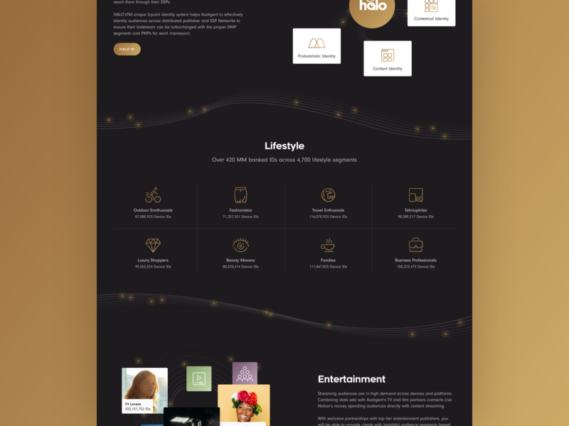 Audigent Website Design mobile first responsive lifestyle entertainment gold golden illustrations music data management data visualization uxdesigner inspiration webdesigner creative designer ux ui website design landing page website