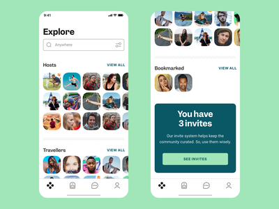 Tribevibe Explore People accomodation community countries explore green hospitality hosts invitations iphone app journey app mobile app mobile design mobile ux mobile ui organic people travel app traveling trips