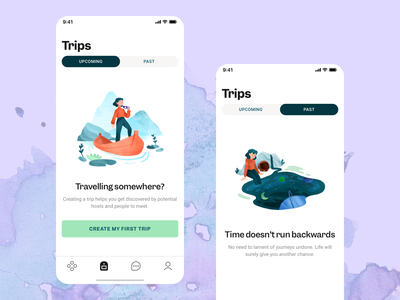 Tribevibe Trips mobile app watercolor painting visual art product design transportation trips journey travel traveling trip planner iphone app mobile ux mobile ui illustration illustration art empty state visual design mobile design watercolor watercolor illustration