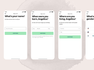 Register Flow form design minimal app design minimal ui mobile uiux ios app personal information personal data country birth date birthday new member register page mobile app mobile ui onboarding login screen login register register form mobile ux