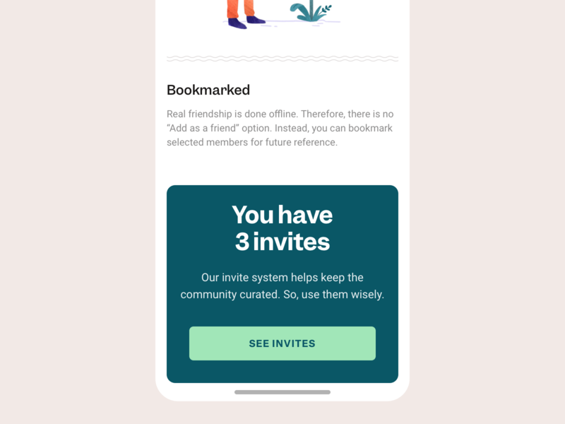 Invitation System mobile design mobile app mobile ui mobile ux register form register friendship friends explore wanderlust nomadic nomad traveling travel community app vibe community invitation invite invite giveaway
