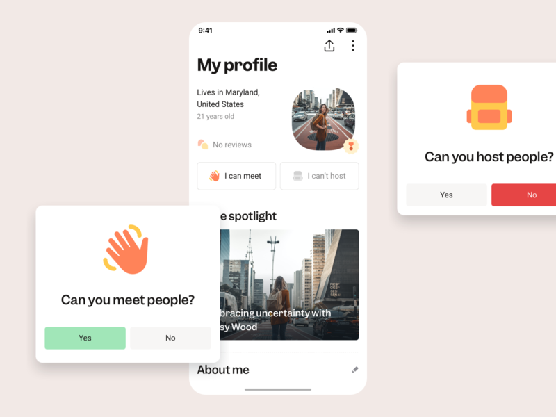 Member Profile minimal ui design ux design traveling trips travel app community friendship meeting meetup meet host members friends people member account profile card profile profile page