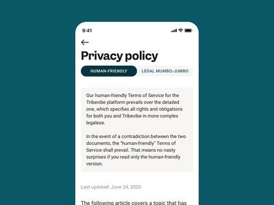 User-friendly Privacy Policy simple clean interface simple design minimalistic minimal minimalism ui design ux design design ethical legal agreements legal privacy terms and conditions terms of service privacy policy iphone app design mobile design mobile app iphone app