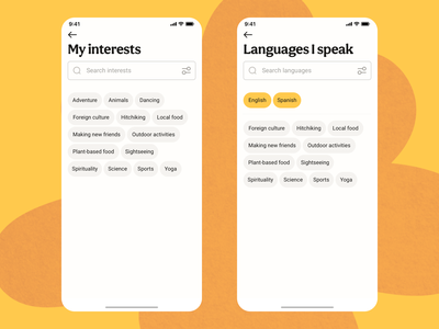 Interests and Languages app ui design ux design find finder search results account screen profile screen filters search tags editing account profile languages interests iphone app mobile ui mobile app mobile ux