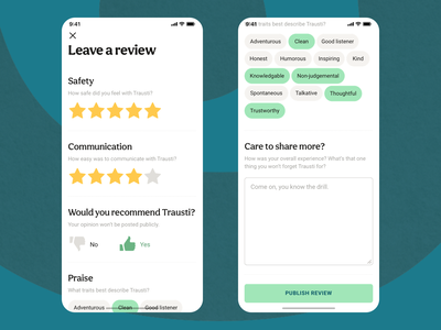 Review System feedback form leave feedback tags stars votes thumb down thumb up praise traits character recommendation communication safety feedback rating reference review star rating mobile ui mobile ux