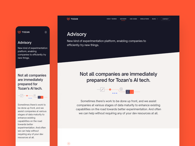 Tozan - Advisory web page ui ux landing page modern minimal startup illustrations line illustrations abstract red flat illustrator clean simple vector graphic design technology ai website