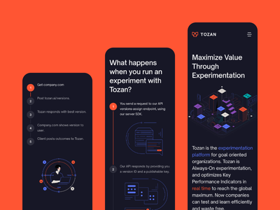 Tozan mobile-first design approach web page ui ux landing page modern minimal startup illustrations line illustrations abstract red flat illustrator clean simple vector graphic design technology ai website