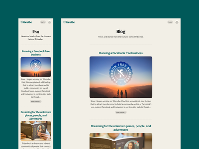 Tribevibe blog screen website landing ui ux community hospitality traveling casual colorful green ecology eco mindful sustainable digital nomad backpacker trips friendship meetup beige