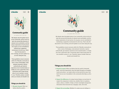 Tribevibe community guide website landing ui ux community hospitality traveling casual colorful green ecology eco mindful sustainable digital nomad backpacker trips friendship meetup beige