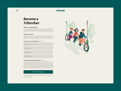 Tribevibe waitlist website landing ui ux community hospitality traveling casual colorful green ecology eco minful sustainable digital nomad backpacker trips friendship meetup beige