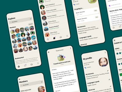 Tribevibe mobile app screens website landing ui ux community hospitality traveling casual colorful green ecology eco mindful sustainable digital nomad backpacker trips friendship meetup beige