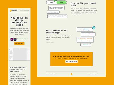UI Copy Plugin Website uiux ux ui retro figma plugin adobe plugin copywriter copywriting monospace border yellow web site landing page website text typography content xd adobexd plugin