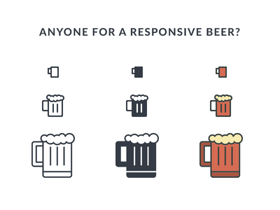 Responsive Beer fribbble icon icons responsive flat line cartoon beer alcohol freebie