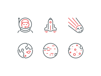 Space Explorations line icons stroke icons ios icons android icons space galaxy cosmonaut planet cometh