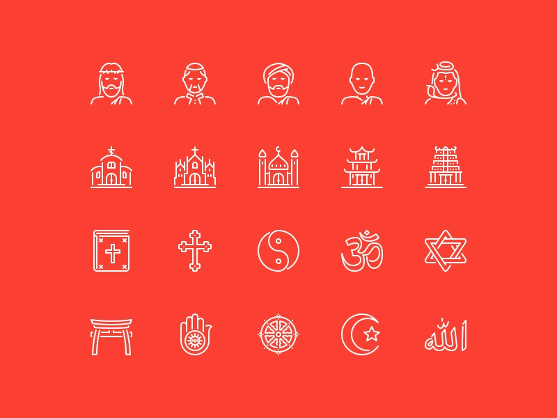 God is One buddhism islam christianity church religion lineking ios icons stroke icons line icons vector icons icon