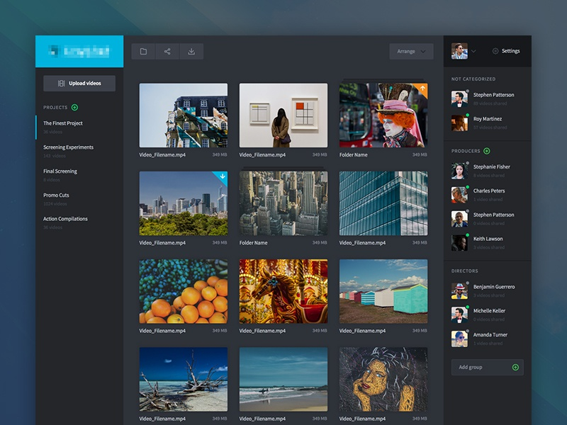 Online Video Management video production cinema film clean minimalistic dark dashboard videos website web app ux ui