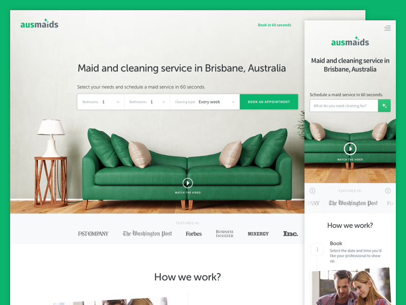 Responsive Landing Page for AusMaids interface ui layout flat clean interior mobile-first homepage webpage website landing responsive