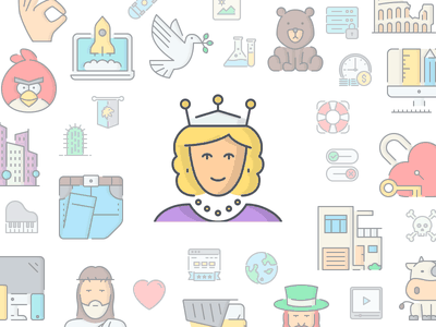 LineQueen Icons illustrations people colorful icons flat icons line icons stroke icons icon-set icons