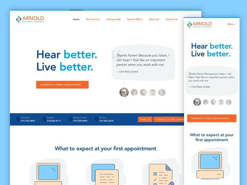 ArnoldHearing Responsive Landing Page flat clean homepage ux ui mobile landing page mobile-first responsive web page website web design
