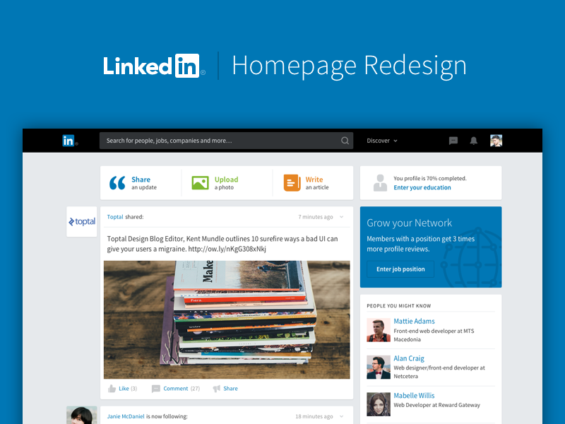 Yet Another LinkedIn Redesign corporate web app social media job board newsfeed social redesign linkedin homepage website layout makeitbetter