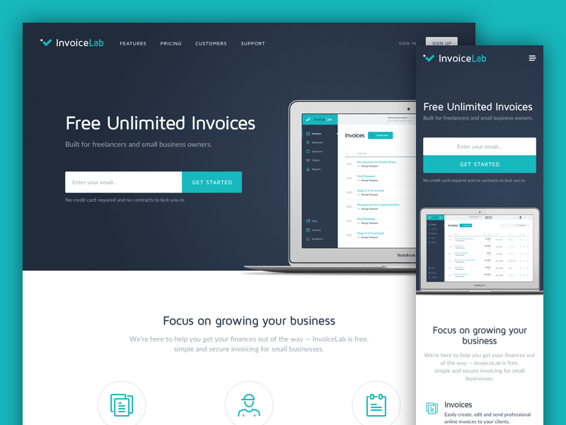 InvoiceLab Responsive Landing Page payment product landing saas invoices ui mobile-first responsive interface web