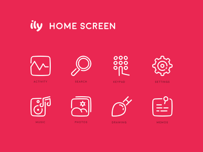 Ily Device Icons memos drawing photos music settings keypad search activity stroke lines icon set icons