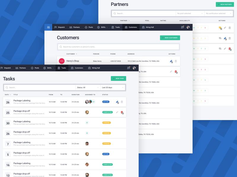 Data Listing tasks customers rows filter tabular list table web app website