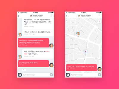 Chat to Map Switch dating meeting bubble conversation view map chat app iphone 8 iphone 7 iphone 6 iphone