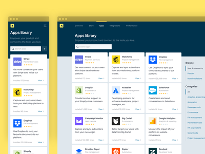 Apps library store design minimalism minimal app yellow web app design landing page concept listing page search bar card design mobile first media queries responsive store library apps