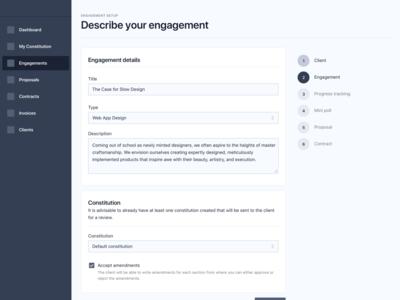 Work engagement setup