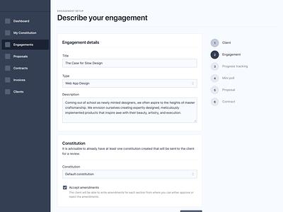 Work engagement setup proposal survey mini poll progress tracking nda contract project management engagement constitution work freelancers clients platform website web application design web app