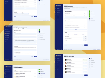 Constitution engagement setup responsive saas app proposal poll survey progress tracking dashboard project strategy remote work product design web design website web app ux design ui design client project management project engagement contract