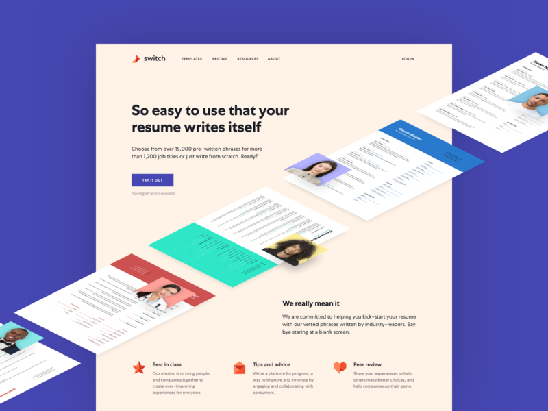 Switch mobile first landing page