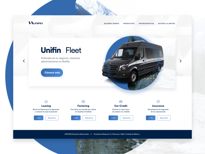 Unifleet Homepage circular ui web clean whitespace car homepage landing page