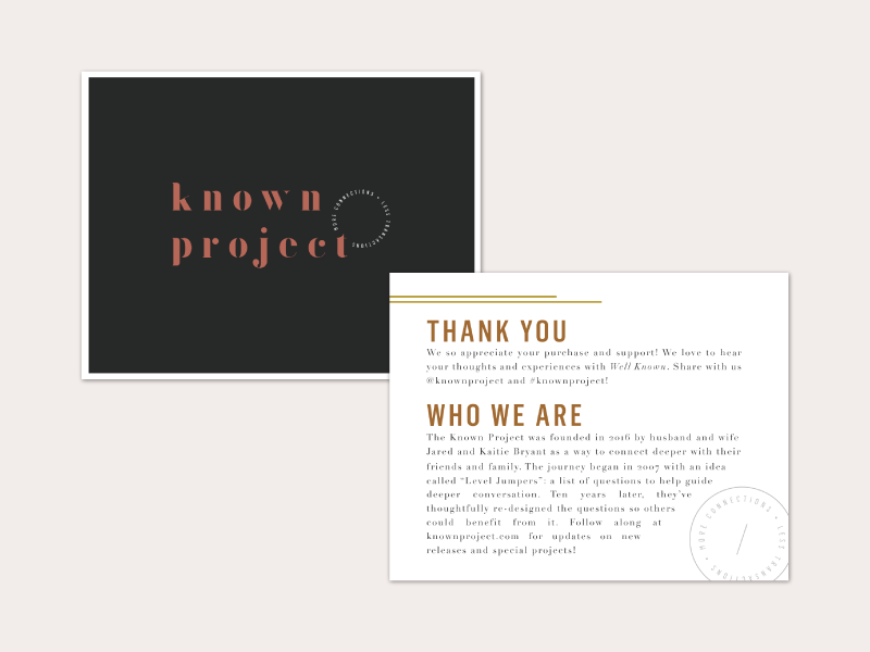 Well Known Enclosure Card custom type logo postcard marketing collateral branding product stationery card